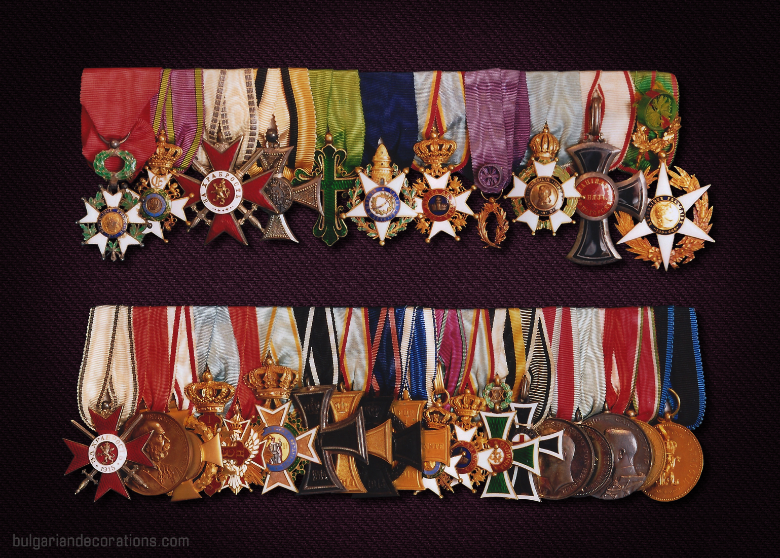 Groups of decorations worn by Ferdinand I - as Prince (1st bar) and King (2nd bar)