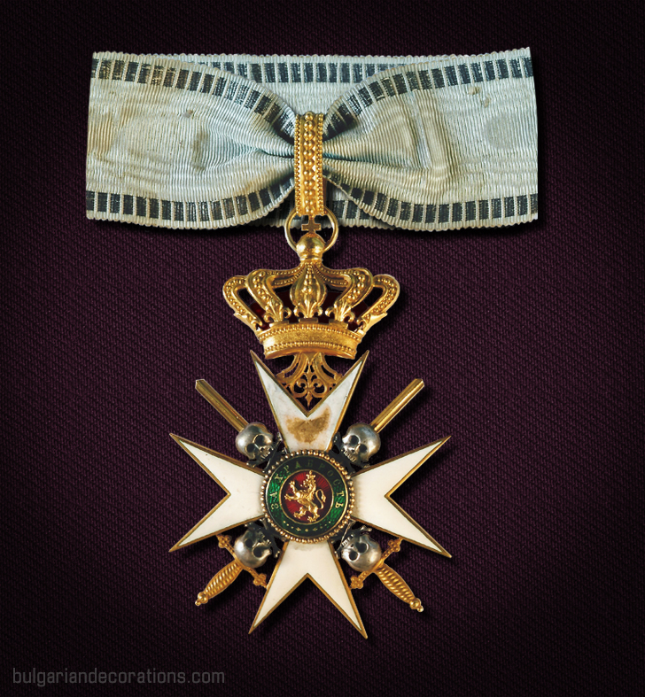 "Unique I class neck badge of the Military Order ""For Bravery"" with skulls and crossed bones. Worn by Prince/King Ferdinand I."